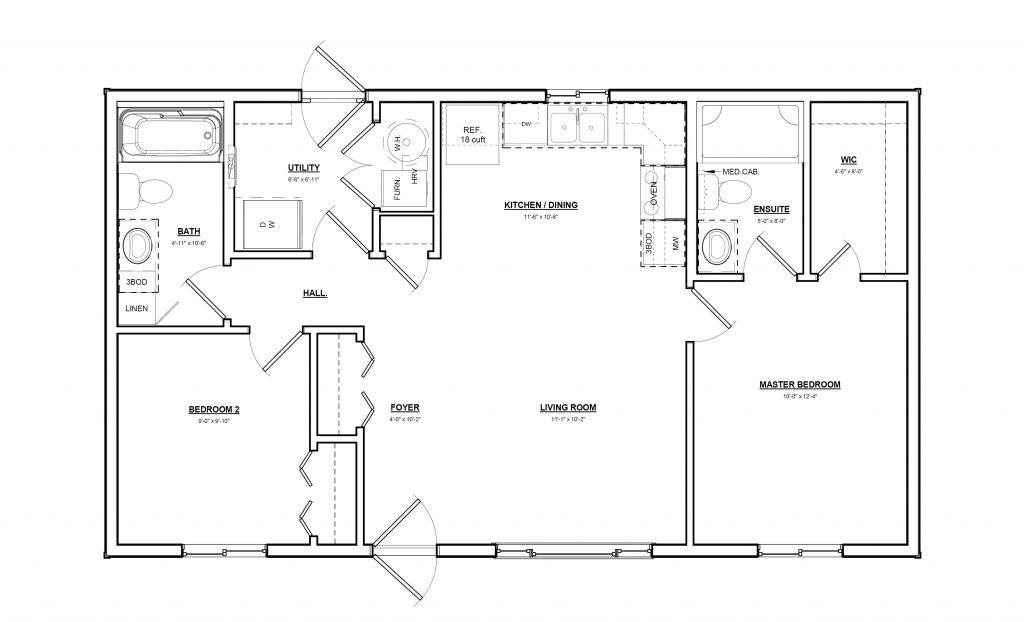 2 Bedroom 2 Bathroom House Plan Sw 22 38 0212
