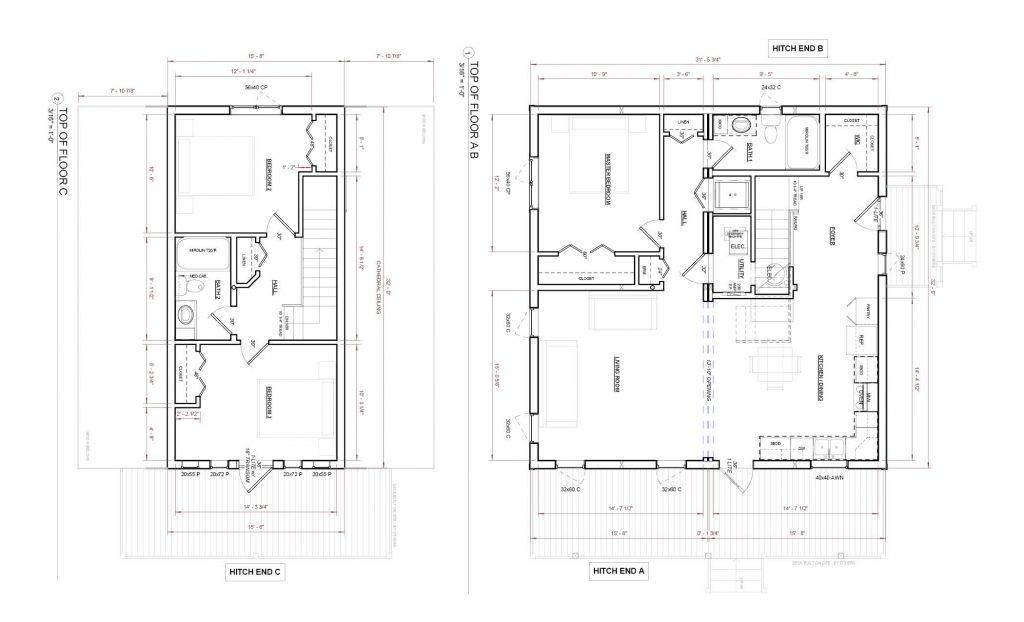 Two Storey 3 Bedroom 2 Bathroom Modular House Plan